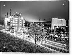 Arkansas Razorback Football Stadium At Night - Fayetteville Arkansas Black And White Acrylic Print