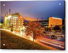 Arkansas Razorback Football Stadium At Night - Fayetteville Arkansas Acrylic Print