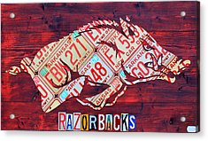 Arkansas Razorbacks Recycled Vintage License Plate Art Sports Team Logo Acrylic Print by Design Turnpike