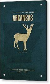 Arkansas State Facts Minimalist Movie Poster Art Acrylic Print by Design Turnpike