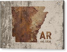 Arkansas State Map Industrial Rusted Metal On Cement Wall With Founding Date Series 034 Acrylic Print by Design Turnpike