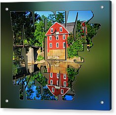 Arkansas Typography Blur - State Shapes Series - War Eagle Mill And Bridge - Arkansas Acrylic Print by Gregory Ballos