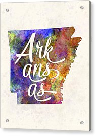 Arkansas Us State In Watercolor Text Cut Out Acrylic Print by Pablo Romero