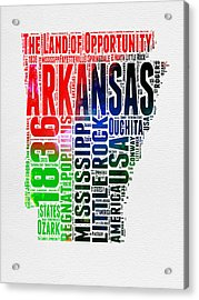 Arkansas Watercolor Word Cloud  Acrylic Print by Naxart Studio