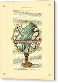 Armillary Sphere In Color Antique Illustration On Book Page Acrylic Print