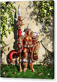 Armored Imperial Gryphon Guard Wielding A Shield And Ranseur Acrylic Print by Nigel Andreola