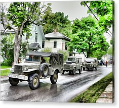 Army Jeeps On Parade Acrylic Print