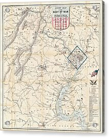Army Map Of Seat Of War In Virginia 1862 Acrylic Print by Stephen Stookey