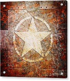 Army Star On Rust Acrylic Print