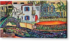 Acrylic Print featuring the painting Arneson Theatre In Blues by Patti Schermerhorn
