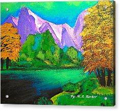 Arora Borealis Mountain Image Acrylic Print by Mary ann Barker