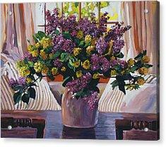 Arrangement In Lavender Acrylic Print by David Lloyd Glover