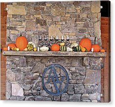 Arrington Vineyards Fireplace Mantle Acrylic Print by Marian Bell