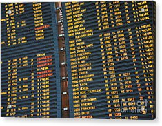 Arrival Board At Paris Charles De Gaulle International Airport Acrylic Print