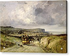 Arrival Of A Stagecoach At Treport Acrylic Print by Jules Achille Noel