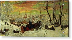 Arriving For The Holidays Acrylic Print by Boris Mihajlovic Kustodiev
