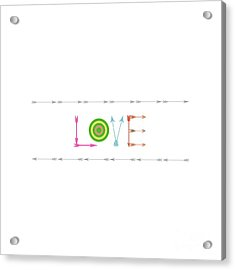 Arrow Love - Changeable Background Color Acrylic Print by Inspired Arts