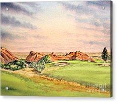 Acrylic Print featuring the painting Arrowhead Golf Course Colorado Hole 3 by Bill Holkham