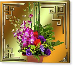 Acrylic Print featuring the digital art Art Deco Floral Arrangement by Chuck Staley