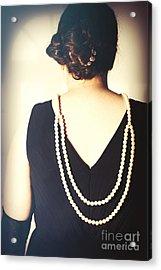 Art Deco Lady In Pearls Acrylic Print by Amanda Elwell