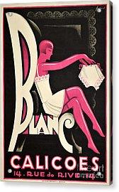 Art Deco Paris Lingerie Ad Acrylic Print by Mindy Sommers