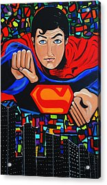 Art Deco  Superman Acrylic Print by Nora Shepley