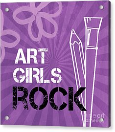 Art Girls Rock Acrylic Print by Linda Woods