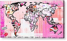 Art Map Pink Love Acrylic Print