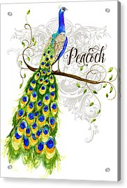 Art Nouveau Peacock W Swirl Tree Branch And Scrolls Acrylic Print by Audrey Jeanne Roberts