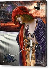 Art Nouveau Zodiac Scorpio Acrylic Print by Mindy Sommers