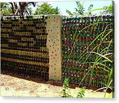 Art With Recycling - Walls From Bottles 1 Acrylic Print