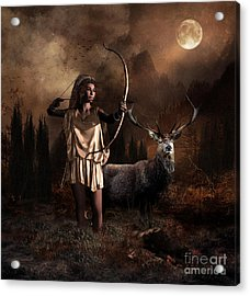Acrylic Print featuring the digital art Artemis Goddess Of The Hunt by Shanina Conway