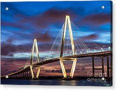 Arthur Ravenel Bridge At Night Acrylic Print
