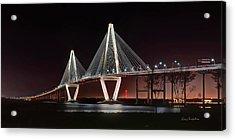 Acrylic Print featuring the photograph Arthur Ravenel Jr. Bridge At Midnight by George Randy Bass