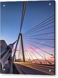 Arthur Ravenel Jr. Bridge Light Trails Acrylic Print