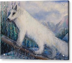 Acrylic Print featuring the painting Artic Fox by Bernadette Krupa