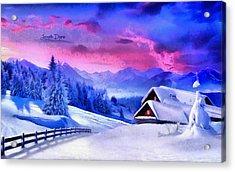 Artic Winter - Monet Inspired Acrylic Print by Leonardo Digenio