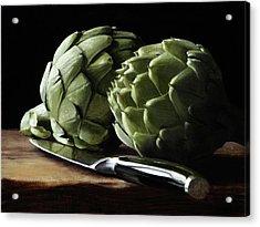 Artichokes And Knife Acrylic Print by Michael Lynn Adams