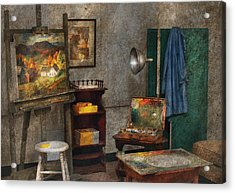 Artist - Painter - The Artists Studio Acrylic Print by Mike Savad