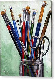 Artist Brushes Acrylic Print by Linda Apple