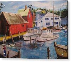 Artist In New England Dock Acrylic Print by Gloria Condon