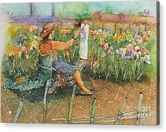 Artist In The Iris Garden Acrylic Print