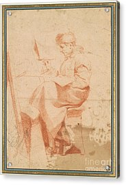 Artist Painting At An Easel Acrylic Print