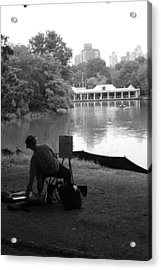 Artist Painting In Central Park Acrylic Print by Christopher Kirby