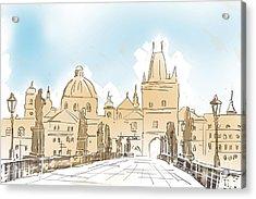 Artistic Digital Painting Of Charles Bridge Prague Acrylic Print by Jorgo Photography - Wall Art Gallery