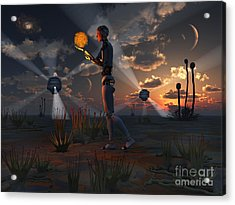 Artists Concept Of A Quest To Find New Acrylic Print by Mark Stevenson