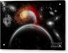 Artists Concept Of Cosmic Contrast Acrylic Print by Mark Stevenson