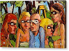 Artists In The Garden Acrylic Print by Charlie Spear