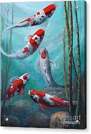 Artist's Pond Fish Acrylic Print by Gail Salitui