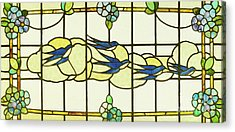 Arts And Crafts Panel Of A Group Of Swallows Before Clouds In A Border Of Flowers Acrylic Print